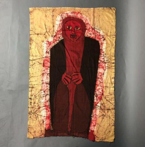 Vintage 1970s Batik Art Panel Handpainted Textile Primitive Figurative Oregon