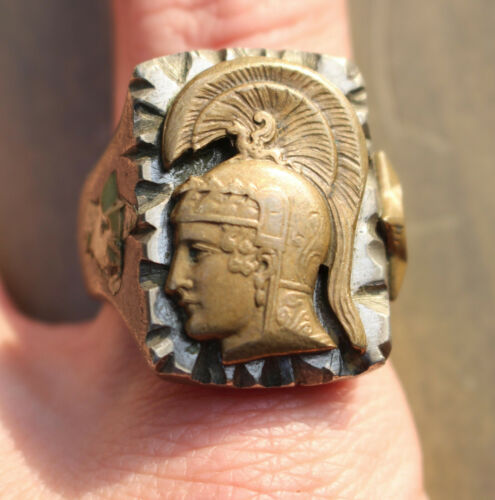 Vintage Mexican Biker Ring Roman Soldier Head 2 Stars Size 13.5-14 Motorcycle