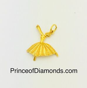 Sterling silver 24kt gold plated ballerina pendant charm