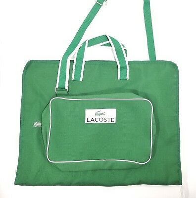 Lacoste Garment Travel Bag Weekender Carry On Duffle Green / White NWOT