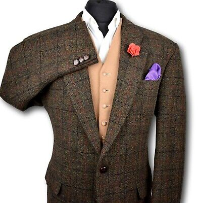 Harris Tweed Tailored Country Brown Blazer Jacket 44R SUPERB QUALITY CLOTH 195