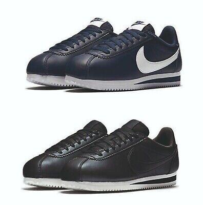 Nike Womens Cortez Classic Leather Vintage Trainers Navy Black UK 3 - UK 7.5