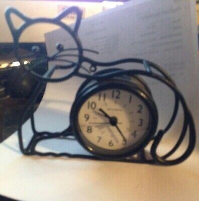VINTAGE WROUGHT IRON CAT CLOCK
