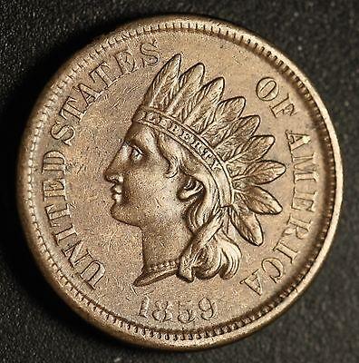 1859 INDIAN HEAD CENT - With LIBERTY & DIAMONDS - Near AU UNC