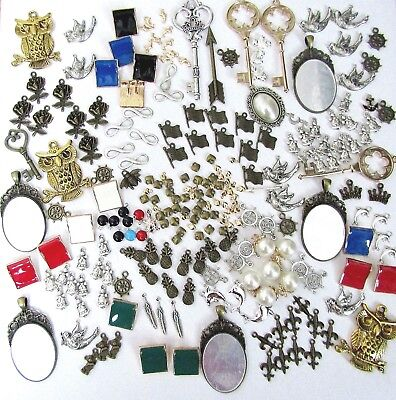 Lot 100 CHARMS Mixed Themes Sizes Key Nautical DIY Craft Bracelet Jewelry Making