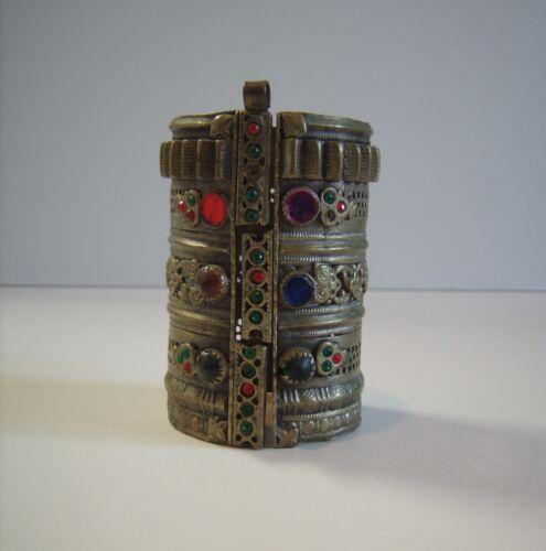 Vintage Fabulous Huge Ethnic Algerian Silver Cuff Bracelet Jeweled Africa
