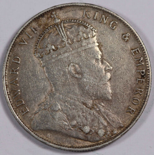 STRAITS SETTLEMENTS 1907 H $1 Dollar Silver Coin XF+ Nicely Toned KM# 26