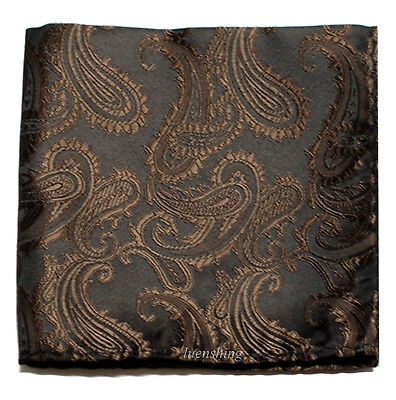 New Brand Q Men's  micro fiber Pocket Square Hankie Only paisley Brown formal