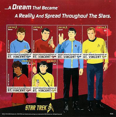 Union Island Gren St Vincent 2016 MNH Star Trek 50th 6v M/S Spock Kirk Stamps