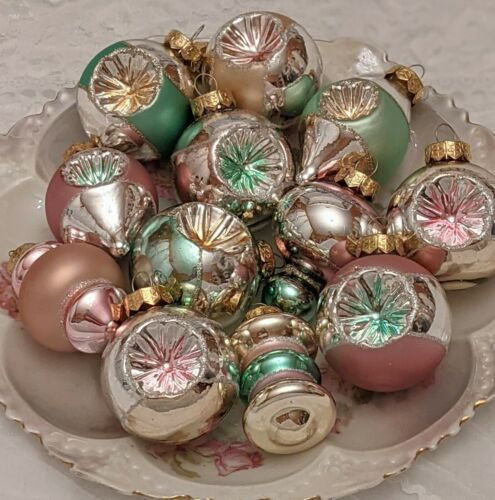 Shabby Chic Vintage Style Lot 12 Pink Green Glass Indent Christmas Ornaments