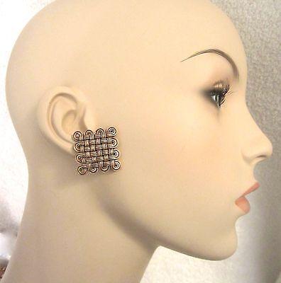 MMA Celtic Woven Clip Earrings Gold Tone Metropolitan Museum NY1993 Retired Mint