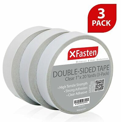 XFasten Clear Double Sided Tape 1-Inch by 20-Yards (Pack of 3)