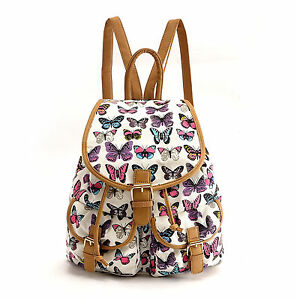... Butterfly Canvas Backpack Rucksack School bag College Shoulder Bag