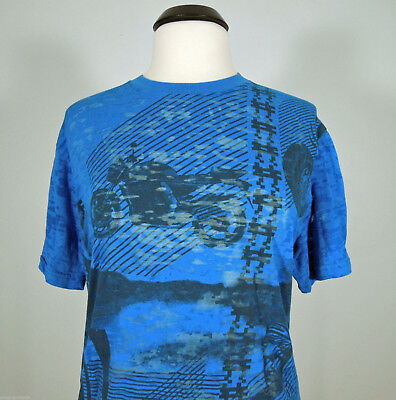 DO DENIM Blue Sheer Bike Motorcycle Graphic Print T-Shirt size L