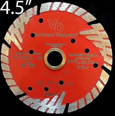 Vd Sintered Turbo Type W Rim Diamond Saw Blade Granite Hard Materials 4.5 Inch