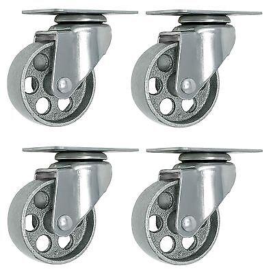 """4 All Steel Swivel Plate Caster 3.5"""" Wheels GRAY Heavy Duty Steel"""
