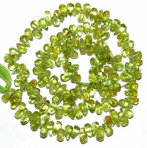 NG2069 Green Peridot 6mm -8mm Top-Drilled Teardrop Briolette Gemstone Beads 14