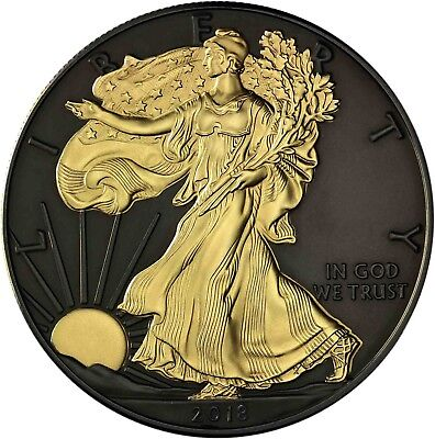 USA Silver Eagle 2018 Black Ruthenium Edition 1 Dollar Silber-Münze 24 Karat  ()