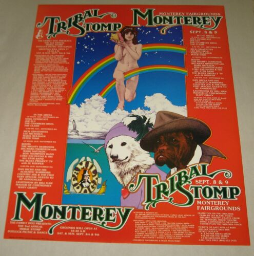 1979 TRIBAL STOMP CONCERT POSTER Monterey 1st Print THE CLASH,AL KOOPER,JOE ELY