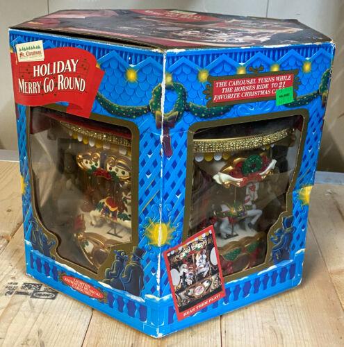 1994 Mr Christmas HOLIDAY MERRY GO ROUND Carousel Animated Music Decoration NIB
