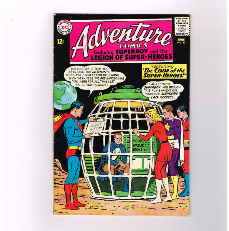 "ADVENTURE COMICS #321 Grade 8.0 Silver Age DC! ""The Code of Superheroes""!"