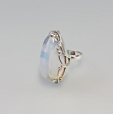 07234 925er Silber Jugendstil Ring mit Mondstein floral  Gr.56