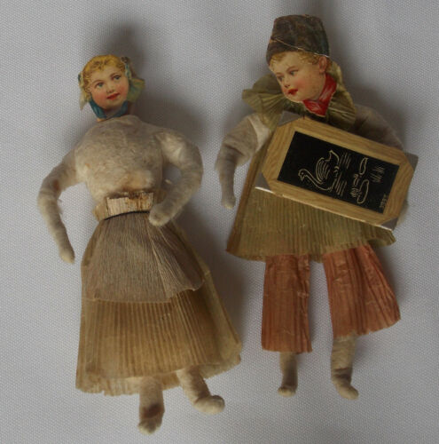 Antique Spun Cotton & Crepe - School Boy & Girl