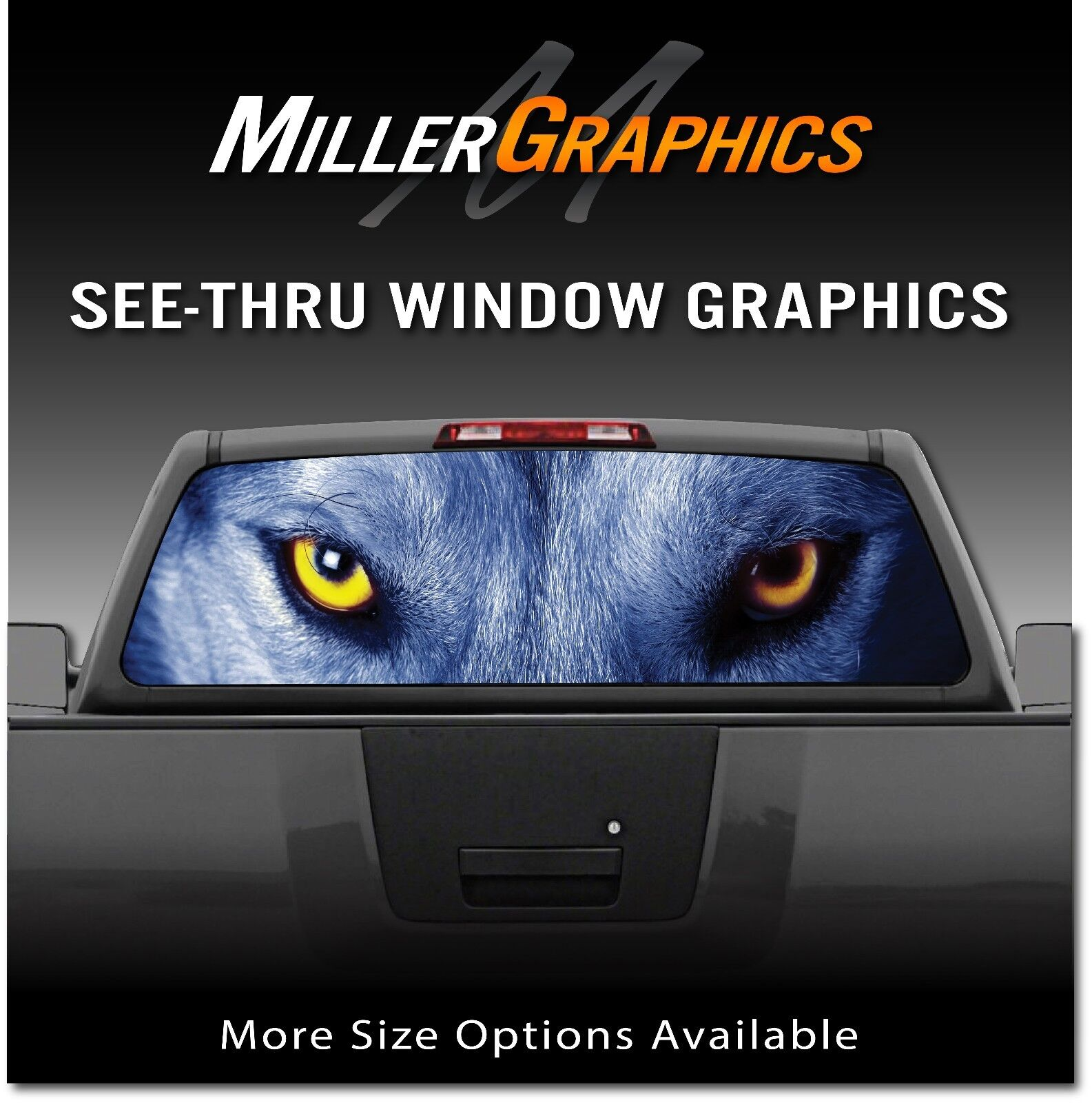 Details about wolf eyes wolves rear window decal graphic for truck suv