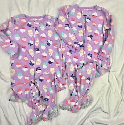 Carters Fleece Blanket Sleeper Pajamas TWINS Girls 4T Purple Cupcakes - Set of 2 Fleece Blanket Sleeper Pajamas