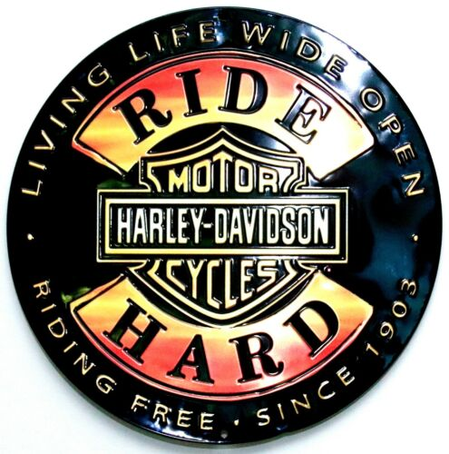 NEW LARGE ROUND 3D STAMPED METAL HARLEY DAVIDSON RIDE HARD WALL TIN SIGN. NWT