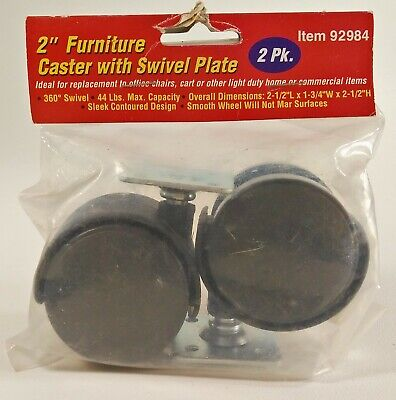 2 Furniture Caster Wheels W Swivel Plate 92984 Home Office Chair Replacement