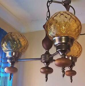 Wood & Amber Glass Pendant Light 3 branch Golden Grove Tea Tree Gully Area Preview
