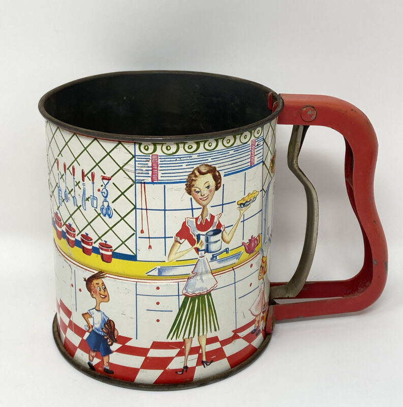 Vintage Tin Lithograph RETRO 1950's KITCHEN Family ANDROCK HAND-I-SIFT Sifter