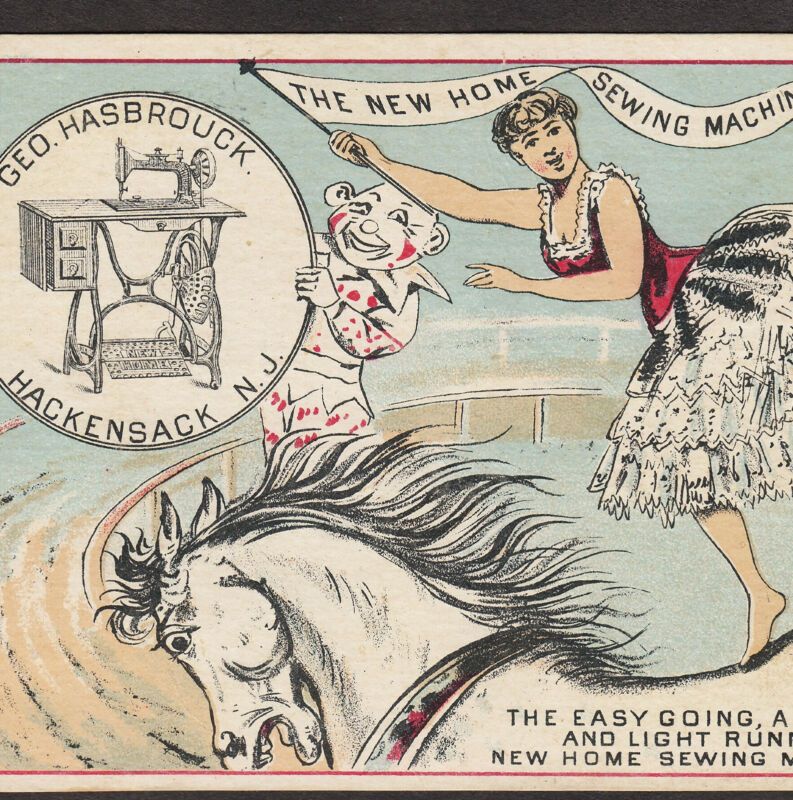 Circus Clown Hackensack New Home Sewing Machine Hasbrouck Advertising Trade Card