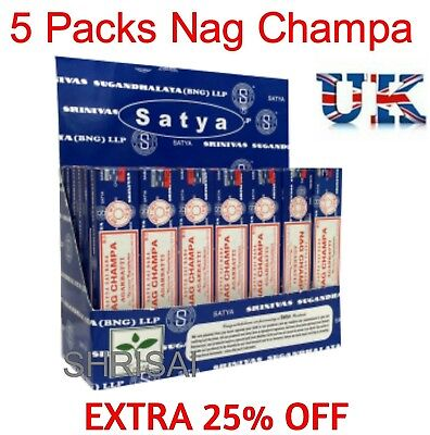 5 Packs Original Satya Sai Baba Nag Champa Incense Sticks  Joss Insence Genuine