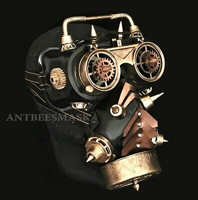Halloween Science Fiction Steampunk FlipUp Goggles Burning Man Gas Dress up Mask