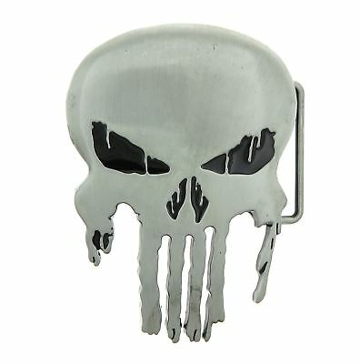 Punisher Skull Antique Silver Metal Belt Buckle (Skull Belt)