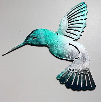 Hummingbird  Teal Tainted Metal Wall Art Decor