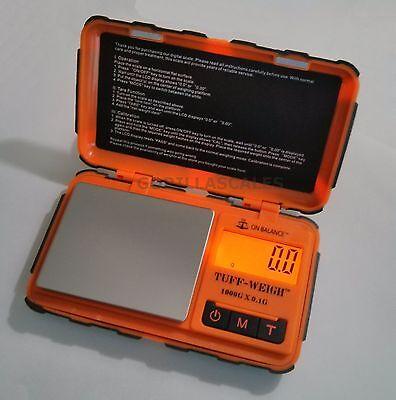 Pocket Gram Scale 1000g 0.1g TUFF Weigh Rubber Grip Durable TUF-1KG Orange Black