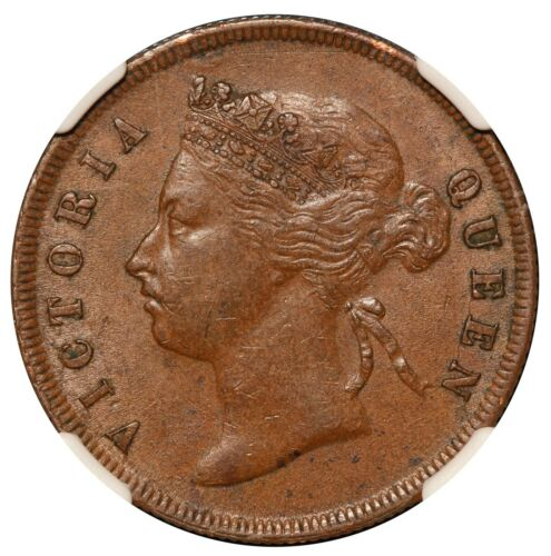 1887 Straits Settlements 1 One Cent Bronze Coin - NGC AU 58 BN - KM# 16