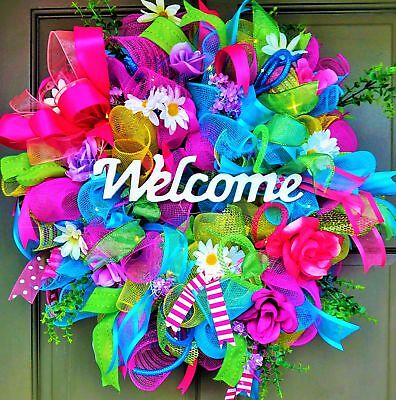 Handmade LED Lit Spring Summer Wreath Light Up Deco Mesh Floral Door Decor  - Spring Door Decorations