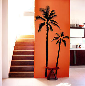 XXL-SET-OF-2-PALM-TREE-75-TALL-VINYL-WALL-DECAL-COCONUT-PALMIER-BEACH-SURF