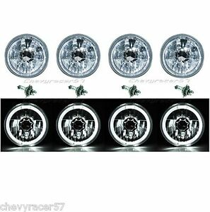5-3-4-034-WHITE-LED-HALO-HALOGEN-LIGHT-BULB-HEADLIGHT-ANGEL-EYE-CRYSTAL-CLEAR-SET