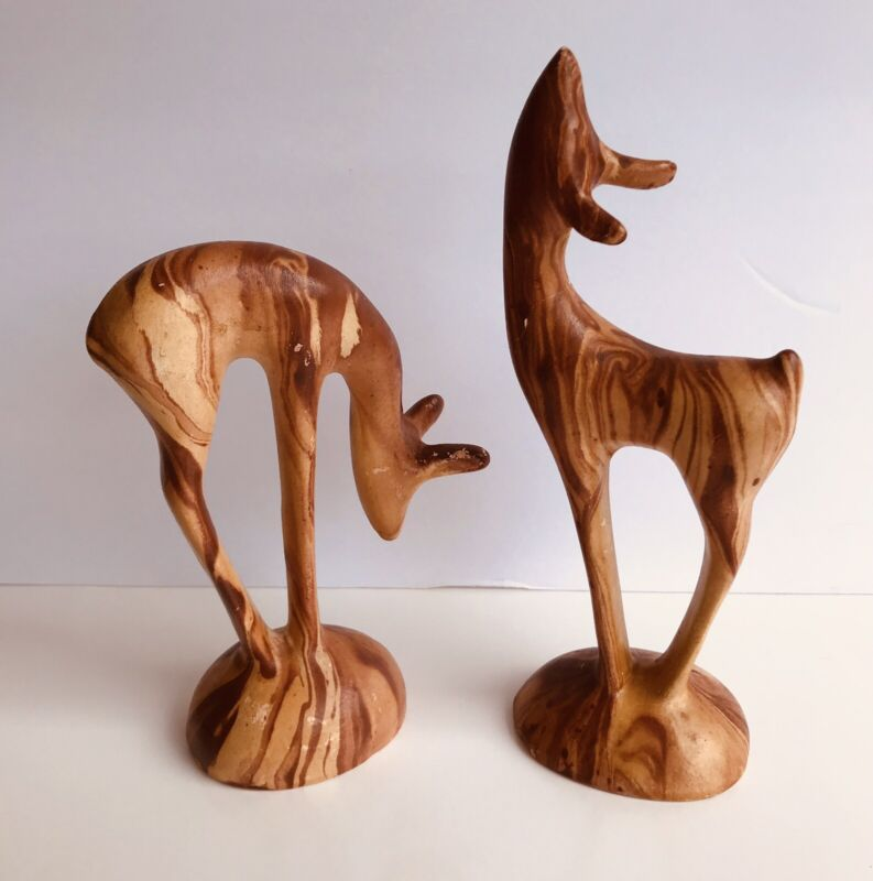 Pine Scented Pottery Two Deer Figurines Vintage Colorado Rockies. Pre-owned
