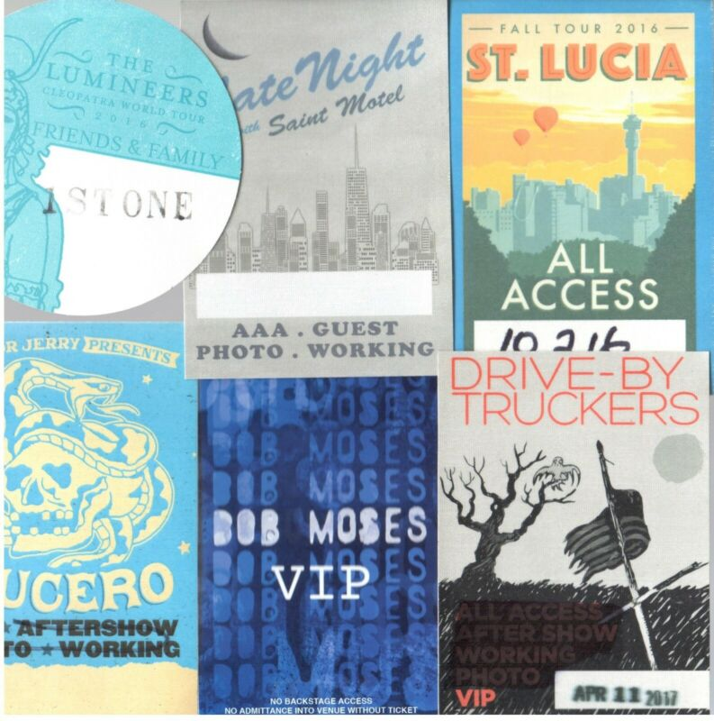 Show Passes Lot of 6! Lumineers Drive By Truckers Lucero Bob Moses St. Lucia