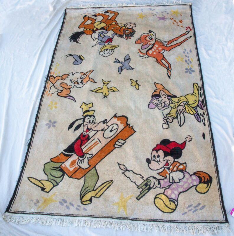 Mid-20th c. Antique Wool Disney Rug 4.5x7.5