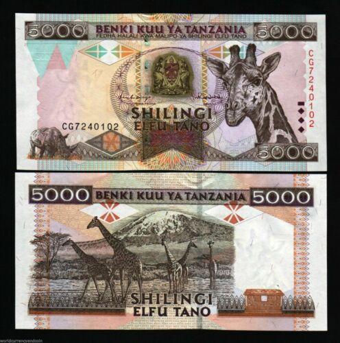 TANZANIA 5000 5,000 SHILLINGS P32 1997 GIRAFFE aUNC BANK NOTE