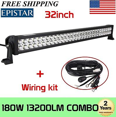 32 Inch 180W LED Light Bar Offroad Work Lamp Spot Flood Combo 4WD SUV+Wiring Kit