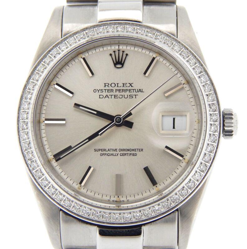 Rolex Datejust Mens Stainless Steel W/ 1ct Diamond Bezel & President Style Band
