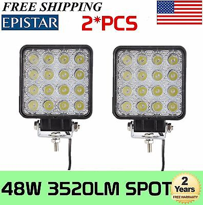 2x 48W Spot Beam LED Work Light Offroad Truck Jeep 4X4 Fog 4WD Boat Driving Lamp